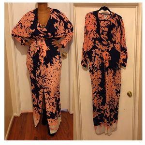 ISSA London 100% SILK maxi dress w/ front tie